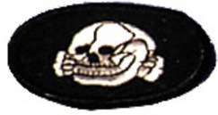 Sew on black patch with white skull and cross bones for a Gestapo