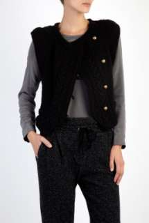 Vanessa Bruno Athé  Black Cap Sleeve Cable Knit Cardigan by Vanessa