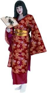 Geisha Plus Adult   Costume includes Kimono, obi (belt), slip dress