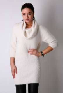 White Angora Cowl Neck Jumper Dress by Paul Smith Black   White   Buy
