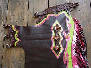 Dark Brown Pro Rodeo Bronc Bull Riding Show Leather Chaps PBR PRCA