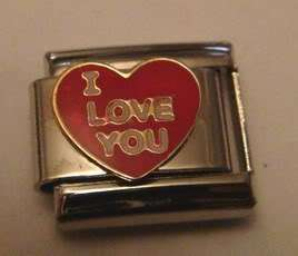 Italian Charms E337   I LOVE YOU   Red Heart 9mm Charm