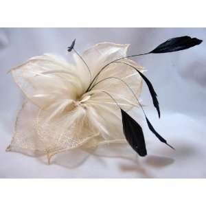 Ivory Feather Flower Hair Clip and Pin Back Everything