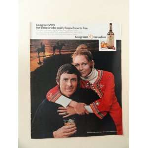 Seagrams V.O. whiskey, 1971 print ad (horses on beach .) Orinigal