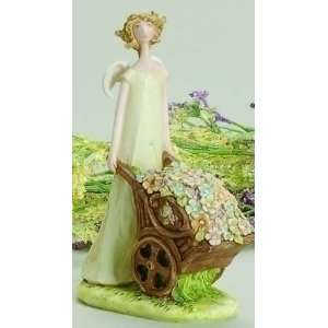 Pack Of 6 Angel Blossoms Figures With Flower Cart 6.5