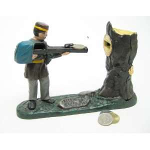 Hunter Collectors Die Cast Iron Mechanical Coin Bank Military Gift