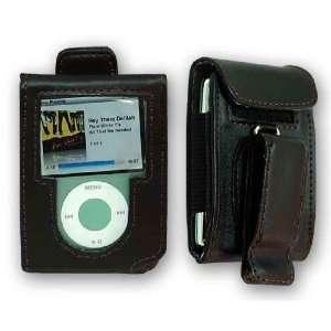BLACK LEATHER CASE COVER FOR IPOD NANO 3RD 3 GEN 3G + Premium iPod