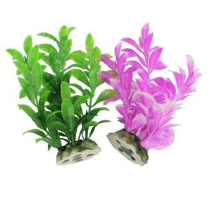Como 2 Pcs Fish Tank Aquarium Green Pinlk Artificial Water