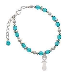 Frosted Baby Pacifier Teal Czech Glass Beaded Charm Bracelet [Jewelry