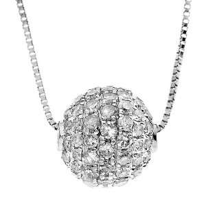 10k White Gold 1/2 cttw Diamond Ball 3 Dimension Pendant, 18 Jewelry