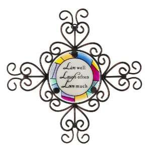 Shine on Me by Pavilion Glass and Iron Wall Hanging, Live Laugh Love