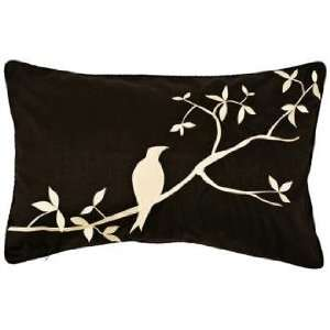 Surya Black and Beige Bird Lumbar Pillow Home & Kitchen