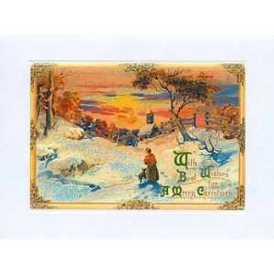 Christmas Greeting Card   Winter Scene at Sunset Sparkle