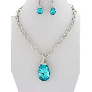 December Birthstone Blue Zircon Crystal Gem Necklace and Earrings Set