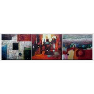 Black, Blue, Red and White Abstract Oil painting   3 Canvas Set