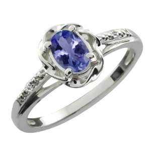 46 Ct Oval Blue Tanzanite White Topaz 14K White Gold Ring Jewelry