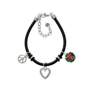 Wreath with Bow Black Peace Love Charm Bracelet [Jewelry] Jewelry