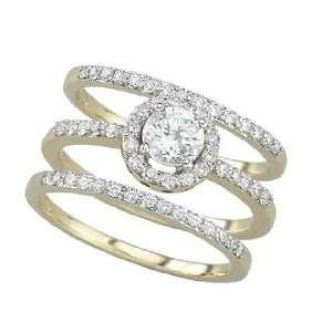 14K White Gold Diamond Bridal Set Semi Mount Engagement Ring (Center