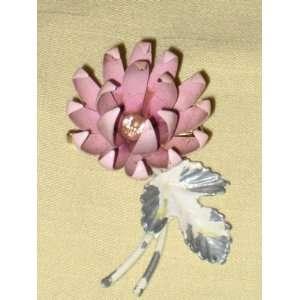 Pink Flower Power Brooch Pin w/ Rhinestone (unsigned)