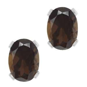 Brown Smoky Quartz Silver Plated 4 prong Stud Earrings 8x6mm Jewelry