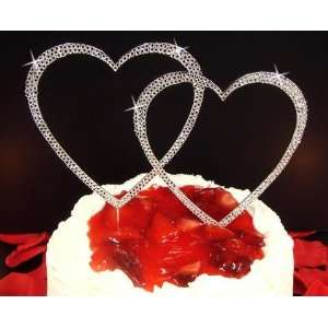 Crystal Covered Heart Cake Topper in Silver or Gold