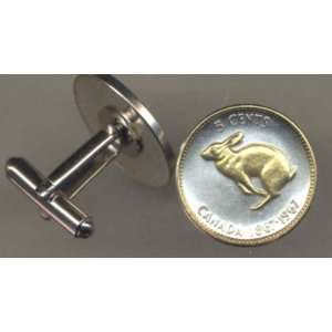 Coin Cufflinks   Canadian Centennial 5 cent Rabbit (nickel size