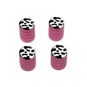 Cow Print   Tire Rim Wheel Valve Stem Caps   Pink Automotive