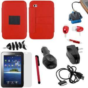 GTMax Red Leather Case Folio with Built in Stand + Clear