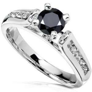 1 Carat TW Black and White Round Diamond Engagement Ring