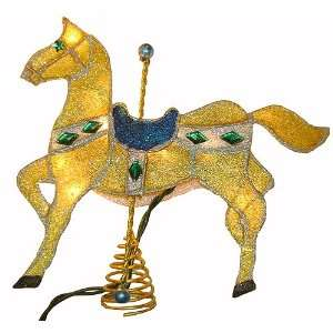Sparkling Lighted Yellow Carousel Horse Christmas Tree Topper #UL400