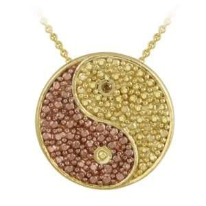 Gold over Silver Champagne Diamond Accent Yin Yang Pendant Jewelry