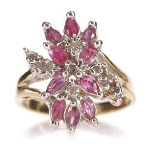 14k Yellow Gold Pink Sapphire Diamond Cluster Ring Jewelry