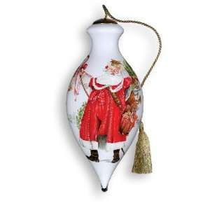 Compliments Of The Season Hand Painted Glass Ornament