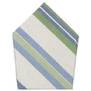 Durable Hand Woven 100% Cotton White and Green Striped Napkins 22x22