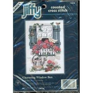 Sunset   Jiffy Counted Cross Stitch Kit   Charming Window Box   Frame