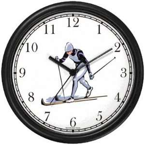 Nordic Cross Country Skier Snow Skiing Wall Clock by
