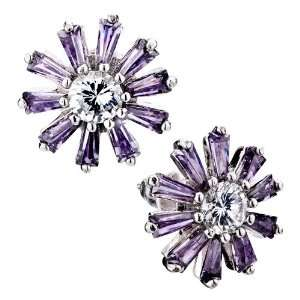 Mothers Day Gifts Mom Earrings Purple Daisy Crystal Stud