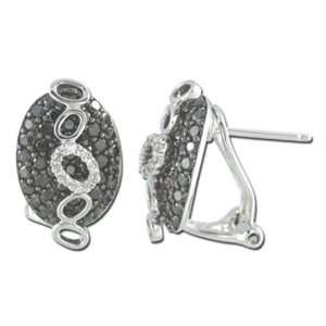 Black White Fashion Diamond Earring   14K White Gold (I1