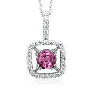 com 18k White Gold Natural Pink Sapphire and Diamond Necklace (G, SI2