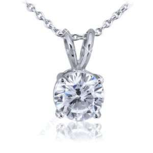 75ct 14kt White Gold Round Cut Diamond Solitaire Pendant Jewelry