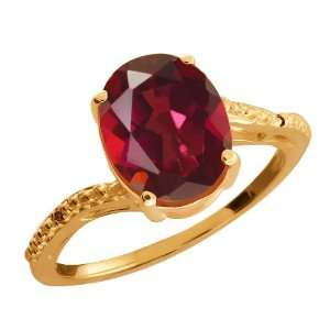 Oval Ruby Red Mystic Quartz and Cognac Red Diamond 14k Rose Gold Ring