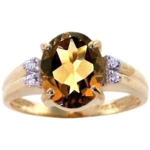 Yellow Gold Large Oval Gemstone and Diamond Ring Smoky Quartz, size8.5