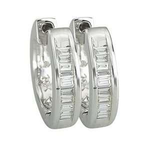 1/8 Carat Baguette Diamonds 14k White Gold Hoop Earrings