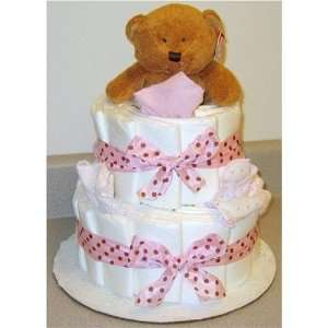 2 Tier Polka Dot Diaper Diaper Baby Cakes Baby