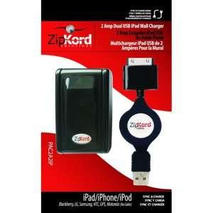 CARGADOR con CABLE RETRACTIL de PARED para iPod / iPhone / iPad, con
