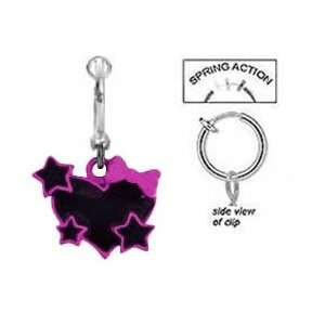 Fake Belly Navel Non Clip on Cute Black & Pink Heart w/ Stars & bow