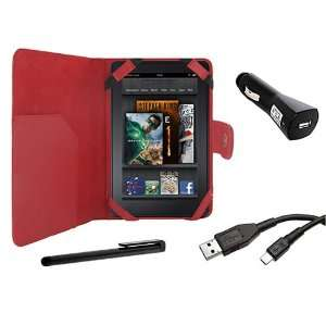 Cover Folio Leather Case (Red) for  Kindle Fire Tablet