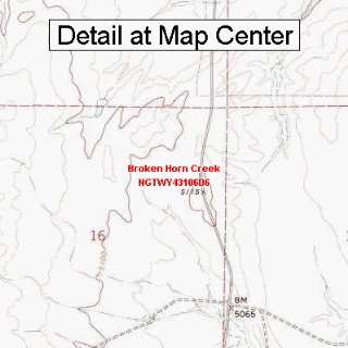 USGS Topographic Quadrangle Map   Broken Horn Creek, Wyoming (Folded