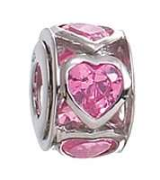 Zable Pink Heart Wheel Colored Stones Crystals Love Hearts