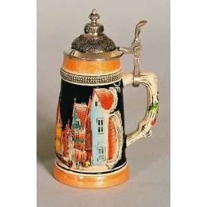 7 Inch Ceramic German Village Beer Stein